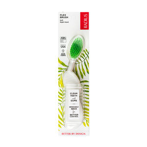 Radius Right Hand Toothbrush, Soft Bristles with Flex-Neck Technology (Colours May Vary)