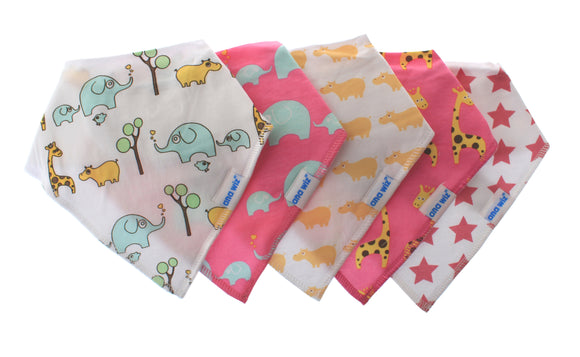 Premium Baby Bandana Bibs, Set of 5 (Girl Set)