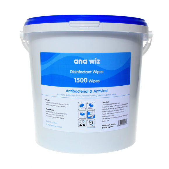 Ana Wiz Alcohol Free Disinfectant Wipes (1500 Sheet Bucket)