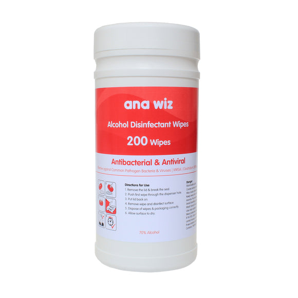 Ana Wiz Alcohol Disinfectant Wipes (200 Sheet Tub)