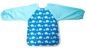 Premium Soft Long Sleeve Water Resistant Washable Bib (Blue Elephant)