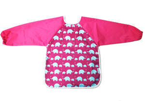 Premium Soft Long Sleeve Water Resistant Washable Bib (Pink Elephant)