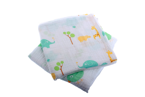 Extra Large Super Soft Muslins - Animal Designs - Gift Boxed 2-Pack