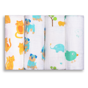 Extra Large Super Soft Muslins - Animal Designs - Gift Boxed 4-Pack