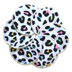 Washable Natural Bamboo Breast Pads - Pack of 6 (Leopard Print)