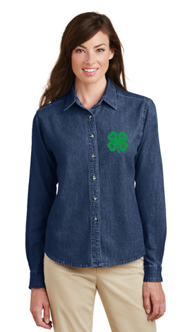 Gloucester County 4-H Clover Ladies LS Denim Shirt