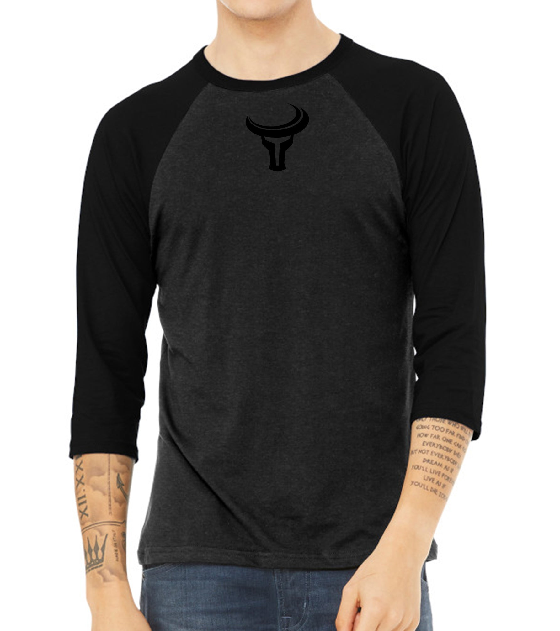 TORO | Bold  Mini Logo 3/4 Baseball Tee - Black