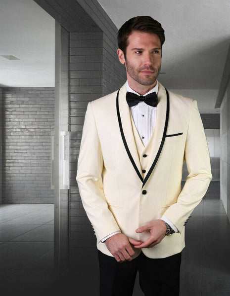 NEW Statement Mens Fashion Suit Tuxedo 3 PC Vest Modern Fit Genova Off White