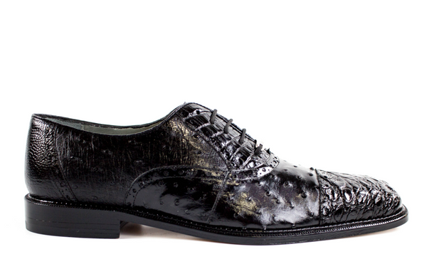 NEW Belvedere Mens Shoes Onesto II Ostrich Crocodile Skin Shoes Black 1419