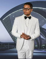 NEW Statement Mens Fashion Suit Tuxedo 3 PC Vest Modern Fit Caesar White