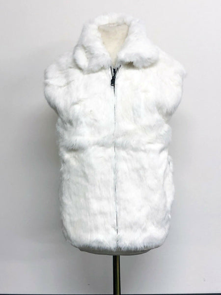 NEW Ladies Womens Genuine Rabbit 100% Real Authentic Fur Winter Vest Jacket USA