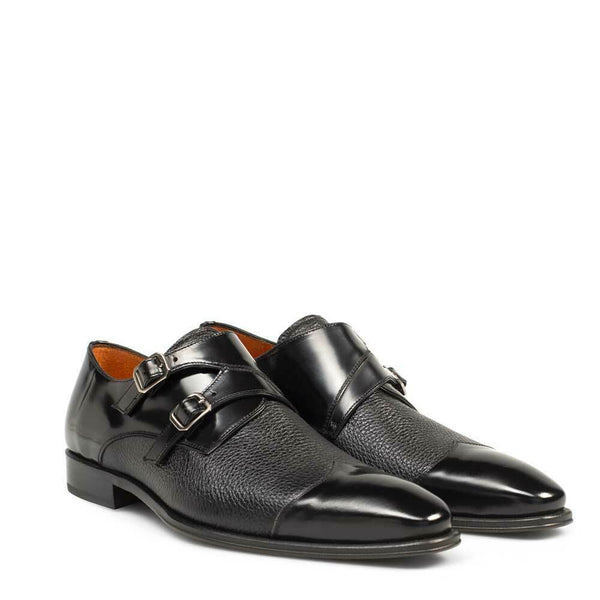 NEW Mezlan Mens Double Monk Wingtip Dress Shoes Deerskin Leather Columbus Black