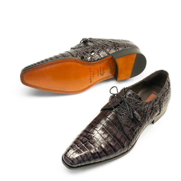 NEW Mezlan Handmade Genuine Crocodile Skin Leather Exotic Lace Dress Shoes Black