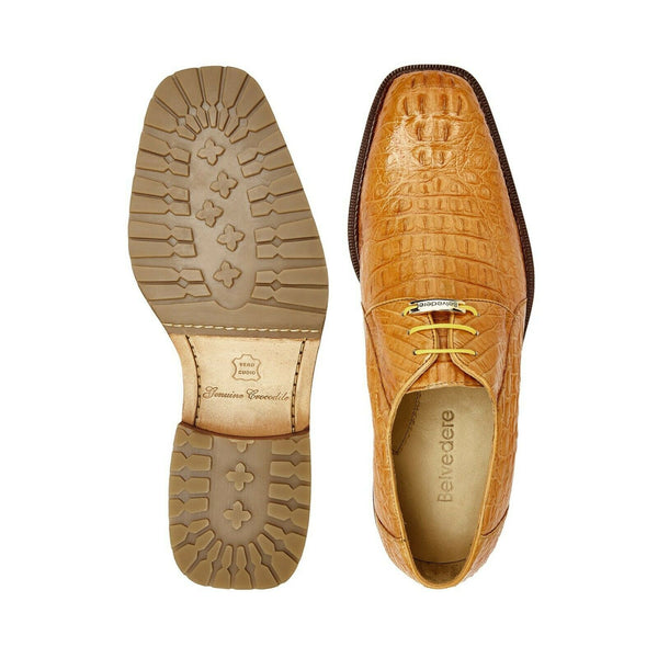 NEW Belvedere Mens Genuine Crocodile Leather Dress Shoes Coppola Brown Honey Tan