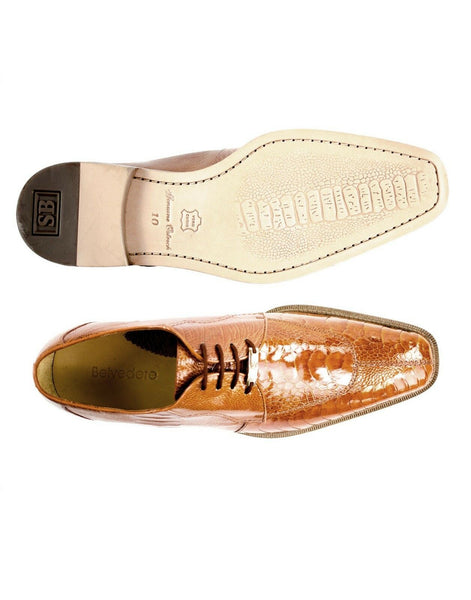 NEW Belvedere Siena Mens Genuine Ostrich Oxford Shoes Brown Cognac Lace Up