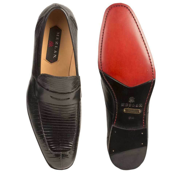 NEW Mezlan Genuine Lizard Leather Dress Slip On Penny Loafer Shoes Lipari Black