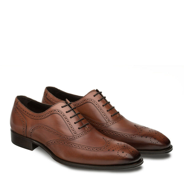 NEW Mezlan Dress Shoes Classic Wingtip Oxfords Genuine Leather Ugalde Brown