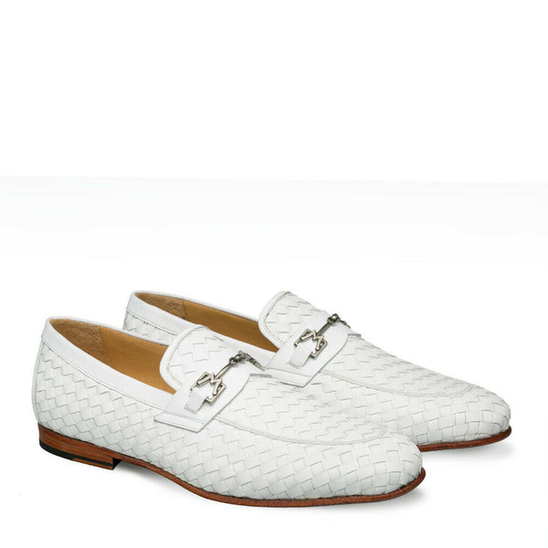 NEW Mezlan Genuine Woven Leather Fashion Slip On Loafer Dress Shoes Cerros White