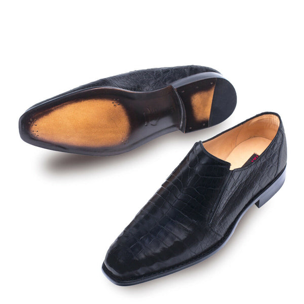 NEW Mezlan Genuine Crocodile Leather Dress Shoes Loafers Slip On Gere Black