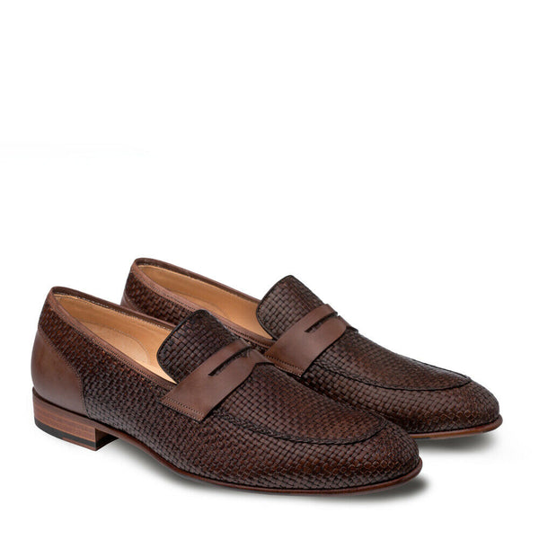 NEW Mezlan Mens Dress Shoes Loafers Slip On Woven Genuine Leather Faro Brown