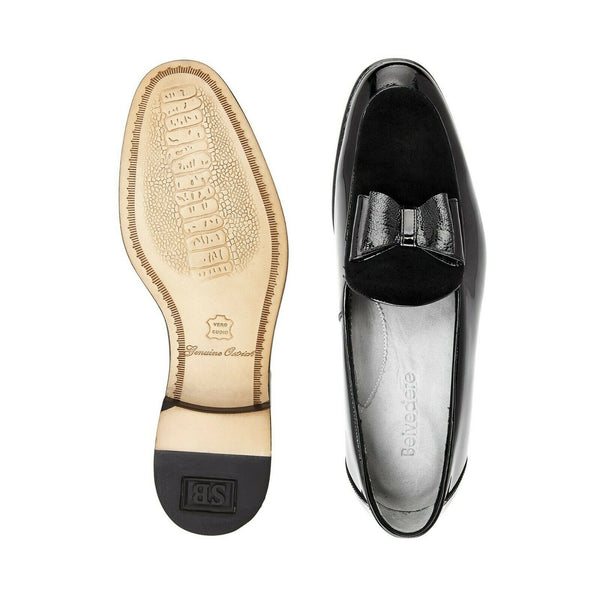 NEW Belvedere Mens Genuine Ostrich Velvet Patent Leather Slip Loafer Cruz Black