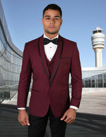 NEW Statement Mens Fashion Suit Tuxedo 3 PC Vest Modern Fit Genova Burgundy