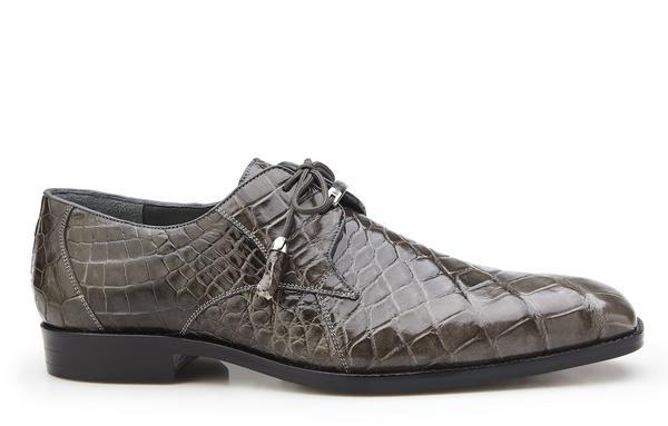 NEW Belvedere Lago Genuine Alligator Mens Oxfords Lace Up Dress Shoes Gray