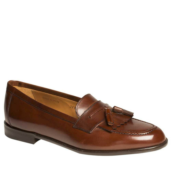 NEW Mezlan Genuine Leather Classic Kiltie Tassel Slip On Dress Shoes Tan Brown