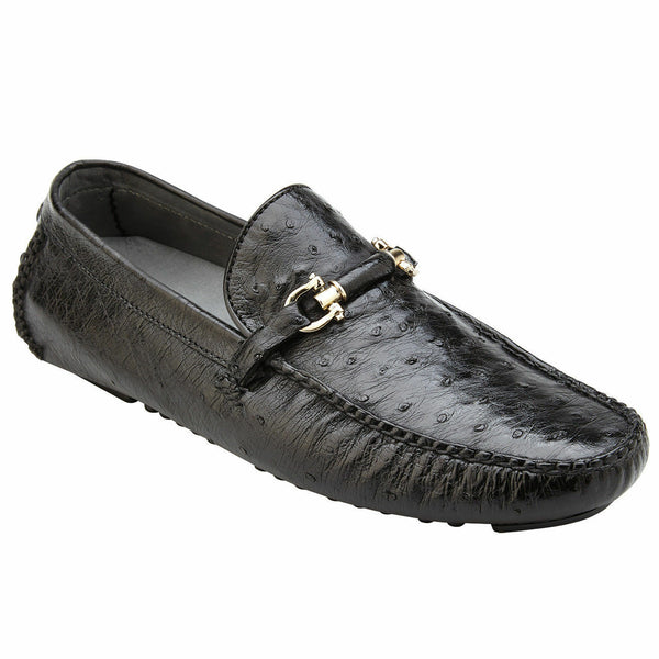 NEW Belvedere Omar Black Genuine Ostrich Leather Skin Loafers Drivers Slip on