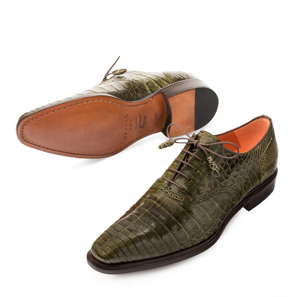 NEW Mezlan Genuine Crocodile Leather Exotic Dress Shoes LaceUp Oxford Lupo Olive