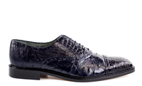 NEW Belvedere Mens Shoes Onesto II Ostrich Crocodile Skin Shoes Navy Blue 1419