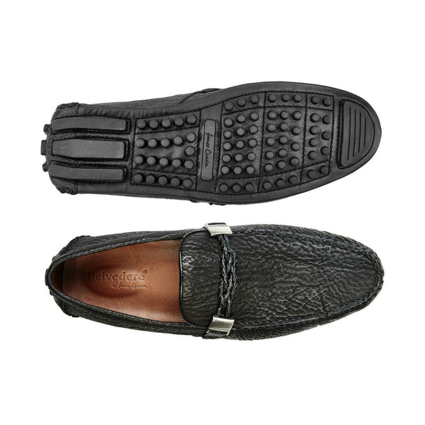 NEW Belvedere Zante Mens Genuine Shark Loafers Drivers Slip On Leather Black