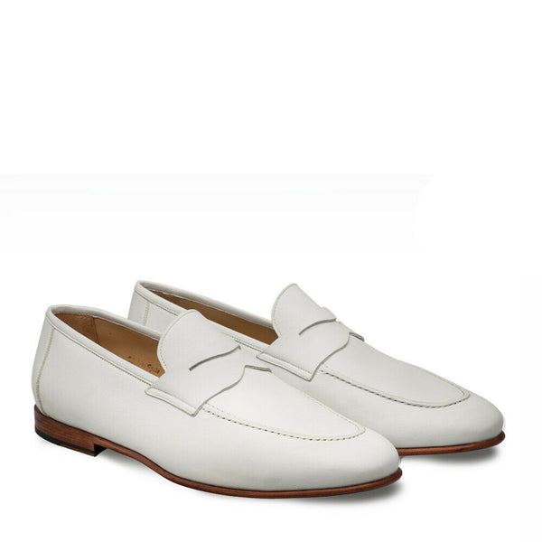 NEW Mezlan Genuine Calfskin Leather Dress Penny Slip On Shoes Bone White Pompei