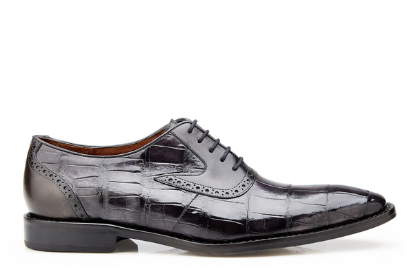 NEW Belvedere Mens Genuine Alligator Leather Dress Shoes Charcoal Walter Gray
