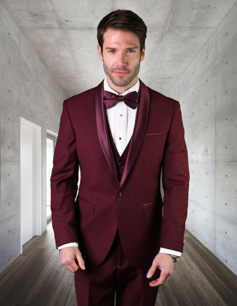 NEW Statement Mens Fashion Suit 3 PC Vest Modern Fit Shawl Lapel Tuxedo Burgundy