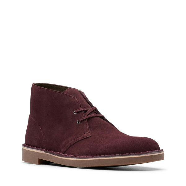NEW GENUINE Clarks BUSHACRE 2 Mens Desert Boots Burgundy Wine Red Suede 26144487