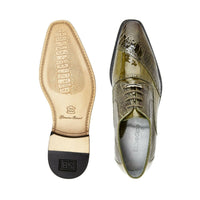 NEW Belvedere Nino Mens Genuine Ostrich Eel Leg Dress Shoes Lace Up Olive Green