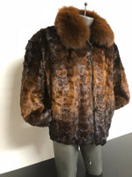 NEW Mens Genuine Mink Fox 100% Real Authentic Fur Sheared Winter Coat Jacket USA