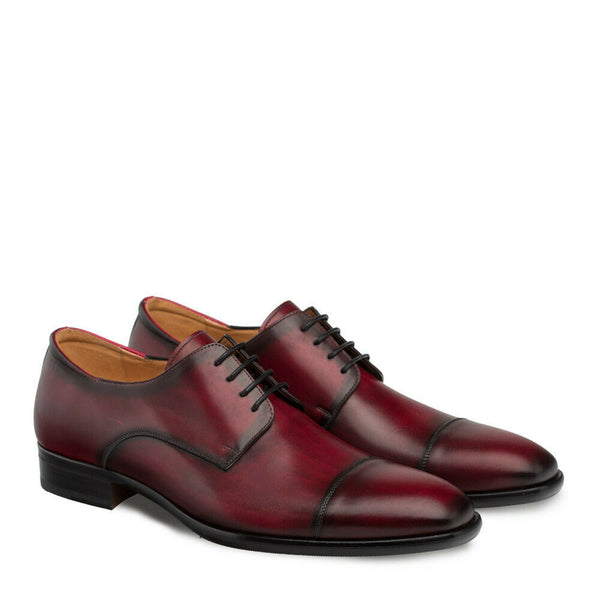 NEW Mezlan Cap Toe Hand Burnished Dress Shoes Calfskin Leather Republic Burgundy