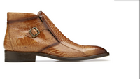 NEW Belvedere Mens Dress Ankle Boots Exotic Shoe Genuine Ostrich Tan Brown Gregg