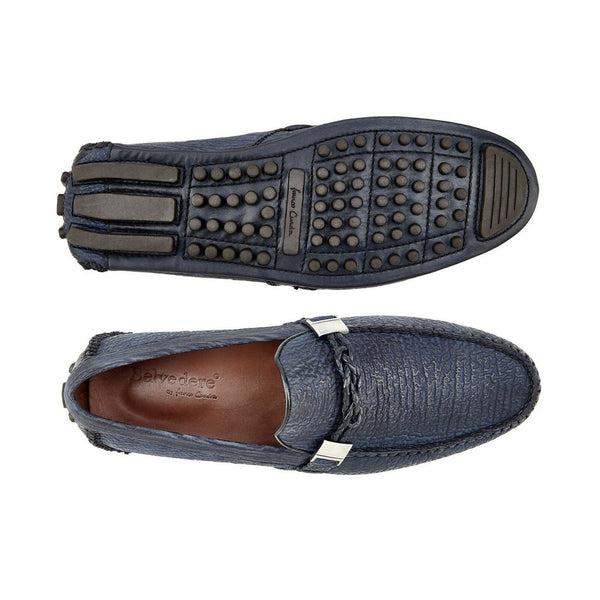 NEW Belvedere Zante Genuine Shark Mens Driving Loafers Shoes Slip On Navy Blue