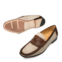 NEW Mezlan Genuine Leather Dress Loafer Linen Handsewn Kiltie Shoes Brown Maggi