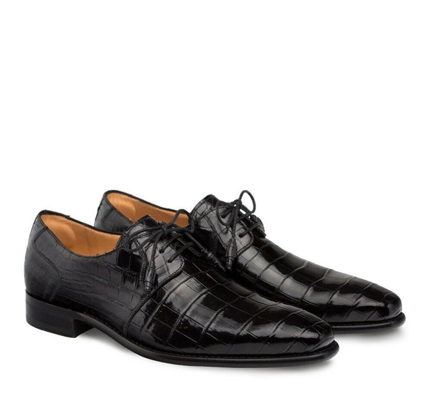 NEW Mezlan Genuine Alligator Leather Dress Shoes Plain Toe Lace Up Moscow Black
