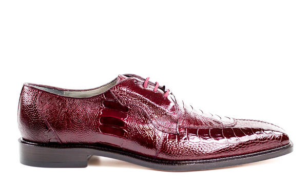 NEW Belvedere Siena Mens Genuine Ostrich Oxford Shoes Burgundy Lace Up
