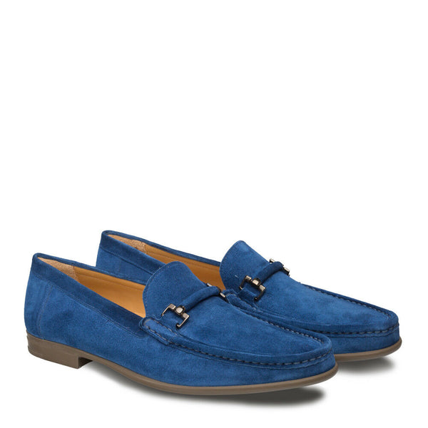 NEW Mezlan Dress Slip On Shoe Moccasin Genuine Suede Leather Handmade Landa Blue