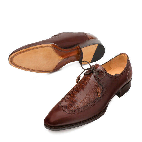 NEW Mezlan Dress Shoes Lac Up Oxfords Genuine Ostrich Paw Leather Albano Brown