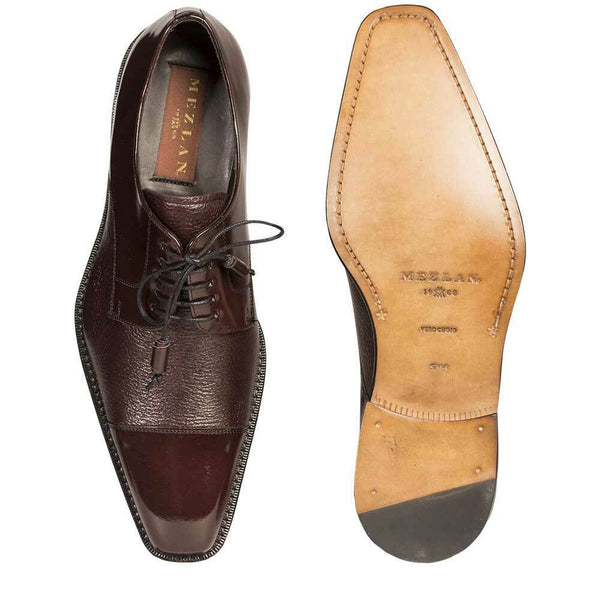 NEW Mezlan Mens Dress Shoes Lace Genuine Deerskin Leather Soka Cap Toe Burgundy