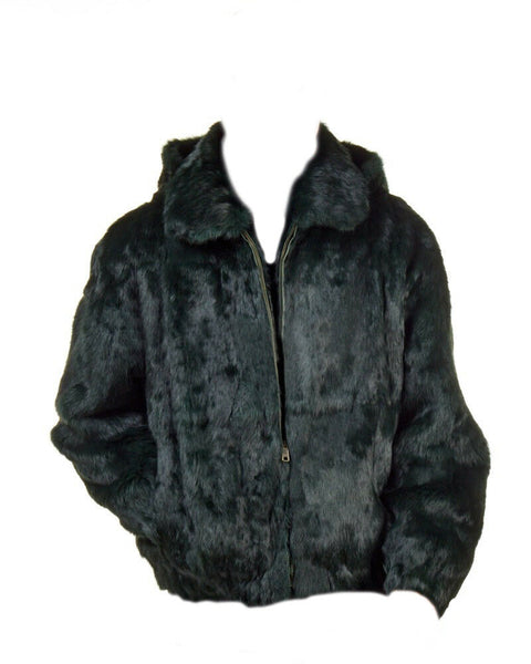 NEW Mens Genuine Rabbit Fur 100% Authentic Winter Coat Jacket USA Olive Green