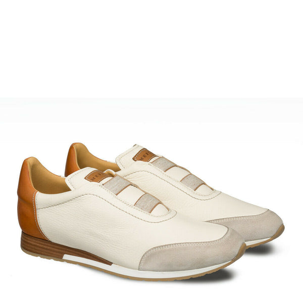 NEW Mezlan Dress Sneaker Shoes Genuine Deerskin Leather Suede Marathon Bone Tan