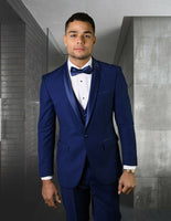 NEW Statement Mens Fashion Suit 3 PC Vest Modern Fit Shawl Lapel Tuxedo Blue